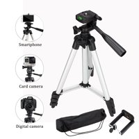 HERCHR Phone & Camera Tripod Stand, Flexible Camera Tripod with Universal Smartphone Mount, 360° All-round 3-Way Head Tripod with Clip Holder for Camera, Camcorder, Cell Phone