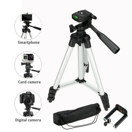 HERCHR Phone & Camera Tripod Stand, Flexible Camera Tripod with Universal Smartphone Mount, 360° All-round 3-Way Head Tripod with Clip Holder for iPhone, Camera, Camcorder, Cell