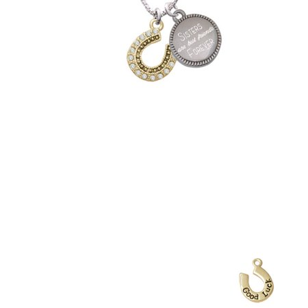 Beaded Clear Goldtone Crystal Horseshoe with Good Luck Sisters Are Best Friends Forever Engraved