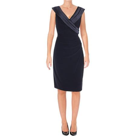 (Lauren Ralph Lauren Womens Ruched Portrait Collar Party Dress)