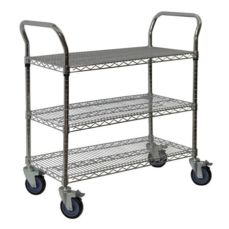 Storage Max Chrome Wire Shelving Cart, 18 x 36, 3 Shelves