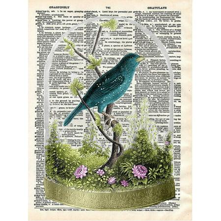 Art N Wordz Bird Under Glass Original Dictionary Sheet Pop Art Wall or Desk Art Print Poster