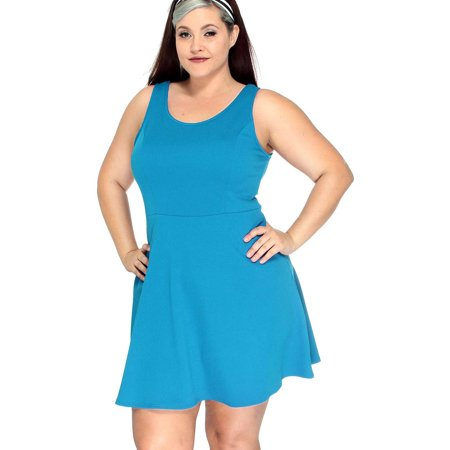 Simplicity - Women\'s Plus Size Sleeveless Solid Fit Flare Mini Dress ...