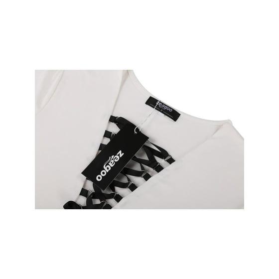 249631a410 Zeagoo Women Casual V-Neck Long Sleeve Lace Up Stretch Bodysuit Jumpsuit  Leotard Top HFON - Walmart.com