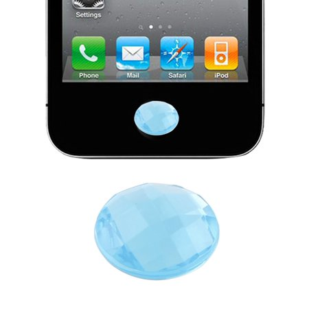 Unique Bargains Bling Plastic Crystal Home Button Sticker Cyan Blue for Apple iPhone 5 4 4S 3GS](Plastic Bling)