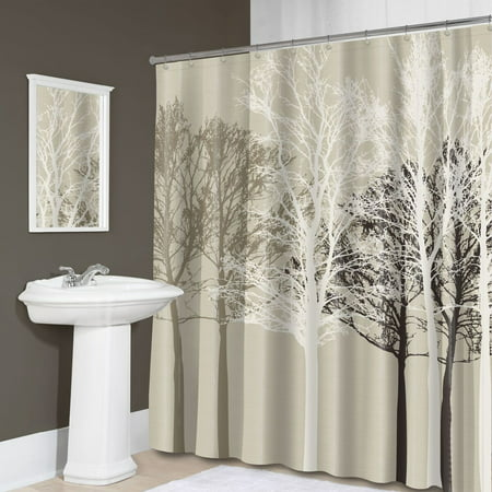 Forest Trees Silhouette Fabric Shower Curtain 70 X 72 Beige