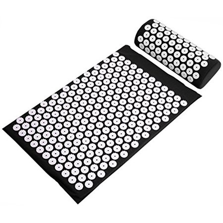 BalanceFrom Acupressure Yoga Mat and Pillow Set for Back and Neck Pain Relief and Muscle Relaxation Massage