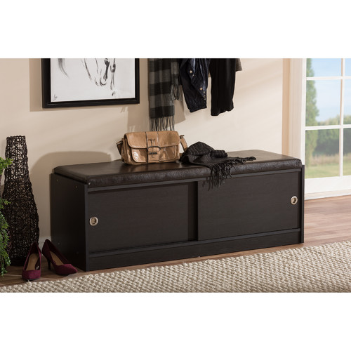 Baxton Studio Clevedon Modern And Contemporary Dark Brown Wood Entryway Storage  Cushioned Bench Shoe Rack Cabinet
