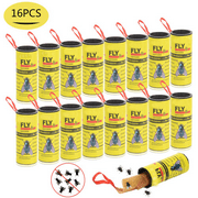 Sticky Fruit Fly Bug Traps for Indoor/Outdoor Use - Insect Catcher for White Flies, Mosquitos, Fungus Gnats, Flying Insects - Disposable Glue Trappers - 16 PACK