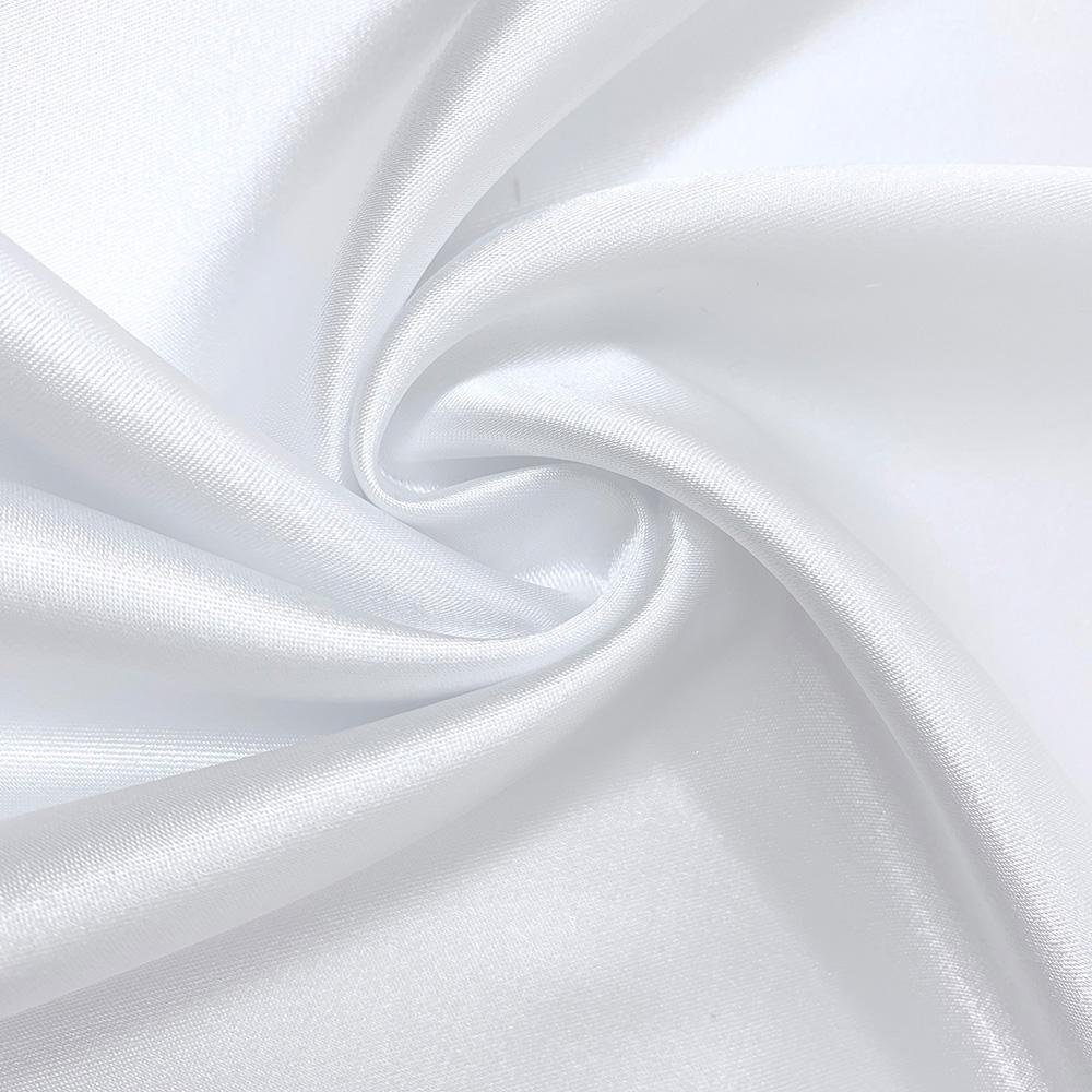 Stretch Charmeuse Satin Polyester Fabric for Wedding Dress by The Yard  White