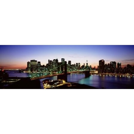 High Angle View Of Brooklyn Bridge NYC New York City New York State USA Canvas Art - Panoramic Images (18 x 6) (Party City Brooklyn New York)