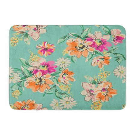 POGLIP Orange Pattern Sketched Flower in Bright Colors Blue Floral Doormat Floor Rug Bath Mat 30x18 inch - image 1 de 1