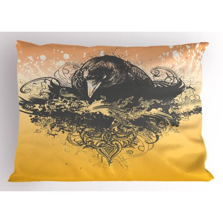 Black Pillow Sham Halloween Theme Vector Illustration of a Wicked Crow and Ornate Flowers Print, Decorative Standard King Size Printed Pillowcase, 36 X 20 Inches, Black and Mustard, by Ambesonne