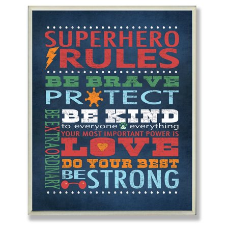 Plaque Home Decor (The Stupell Home Decor Collection Blue Superhero Rules Wall Plaque )