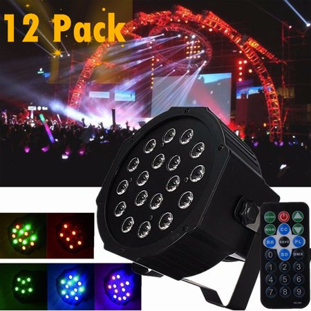 Ktaxon LED Par Light 36W Stage Lighting with Remote Controller Red Green  Blue Light DMX Night Club Wedding Family Party Disco (18x2w)