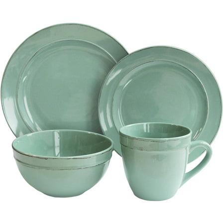- Olivia Seafoam 16-Piece Dinnerware Set