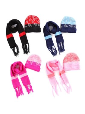 2 Pcs Set Christmas Snowflake Winter Warm Knitted Hat&Scarf Set for 6 Months to 4 Years Old Children, Warm Autumn Winter for Children Boys Girls Caps Scarf Shawl Suit