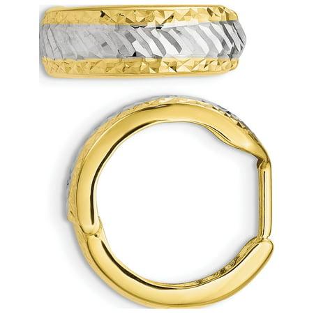 Leslie's 10k w/White Rhodium Polished and Diamond-cut Hoop Earrings (16x21) - image 3 de 3