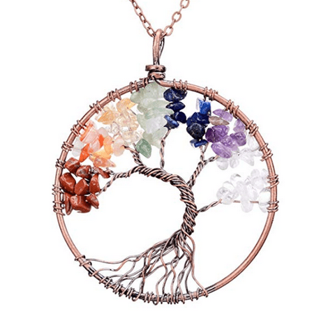 TREE OF LIFE Unique Twisted Wire - 7 Colored Chakra Beads - Healing - Beaded Twisted Necklace