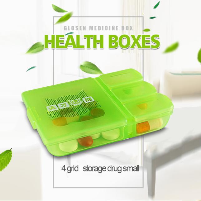 Travel Portable 4 Grid Square Plastic Small Kit medicine Drug Pill Case