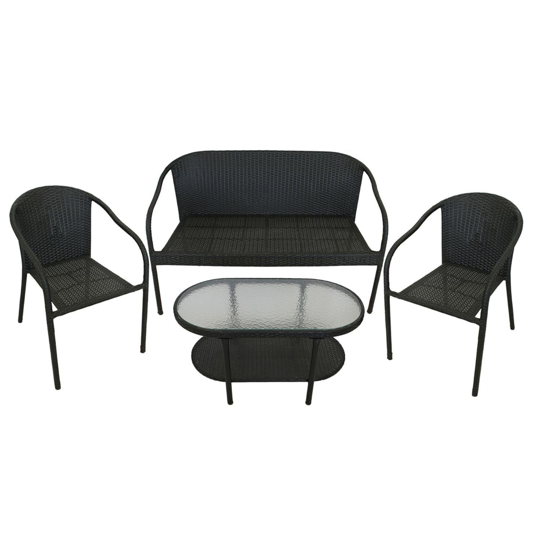 4 Piece Black Resin Wicker Patio Furniture Set Loveseat