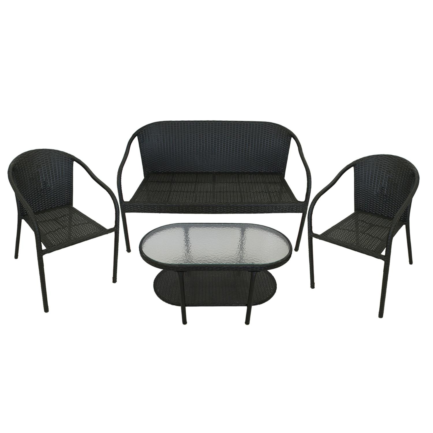 4-Piece Black Resin Wicker Patio Furniture Set - Loveseat, 2 Chairs & Glass Top Table
