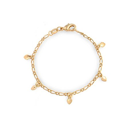 Tiny Simple Fashion Dangling Hearts Charm Bracelet For Women For Small Wrists 5 Inch 18K Gold Plated Brass 10k Gold Plated Charm Bracelet