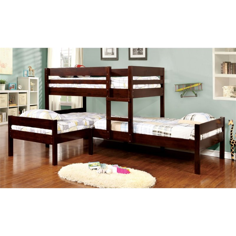 Bowery Hill Twin over Twin Bunk Bed with Twin Bed