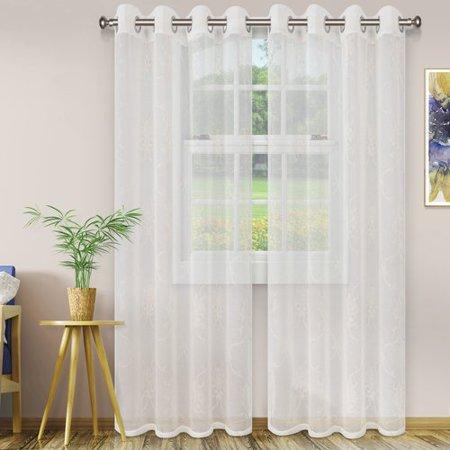 Ebern Designs Abarca Lightweight Elegant Scroll Damask Sheer Grommet Curtain Panels (Set of 2)