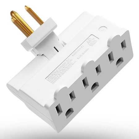 - 3 Outlet Wall Adapter, Fosmon ETL Listed 3-Prong Swivel Grounded Indoor AC Mini Plug Wall Tap - White