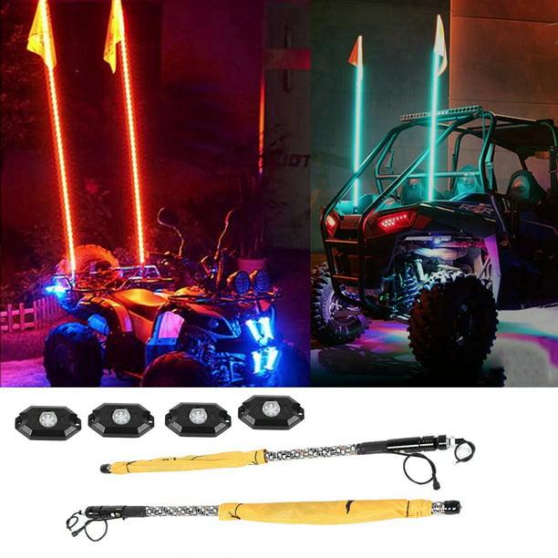 4ft ATV LED Whip Light Rock Light Set RGB Spiral Wrapped Twisted Whips Lamp LED Whips Light