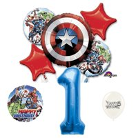 Marvel Avengers Captain America Shield 1st Birthday Party Balloons Bouquet