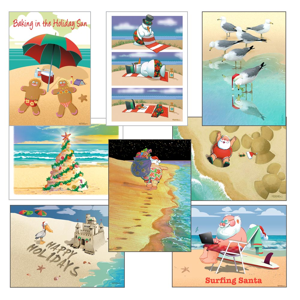 Beach Christmas Card Variety Pack - 24 cards & envelopes - Assortment #2