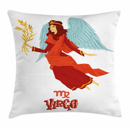 - Virgo Throw Pillow Cushion Cover, Astrological Zodiac Sign with Woman with Wings and Cute Dress Horoscope, Decorative Square Accent Pillow Case, 18 X 18 Inches, Vermilion Seafoam Orange, by Ambesonne