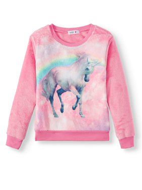 Beautees Pegasus Plush Pullover Sweatshirt (Big Girls)