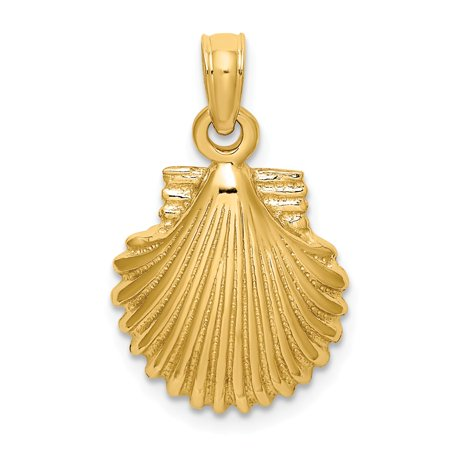 14k Yellow Gold Solid Polished SCALLOP SHELL Charm Pendant