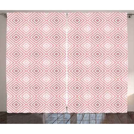Pink And White Curtains 2 Panels Set Hypnotic Axially Symmetric Concentric Rotated Square Shapes