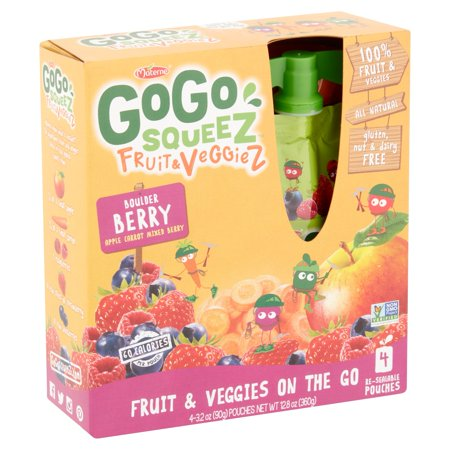 Gogo Squeez Fruit & Veggiez On The Go Boulder Berry, 3.2 oz Pouch, 4 Count Box - Fruit Of The Sea