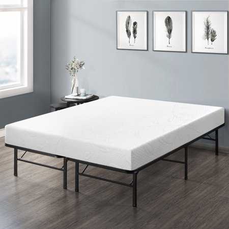 Best Price Mattress 8 Inch Air Flow Memory Foam Mattress and 14 Inch Steel Platform Bed Frame Set,