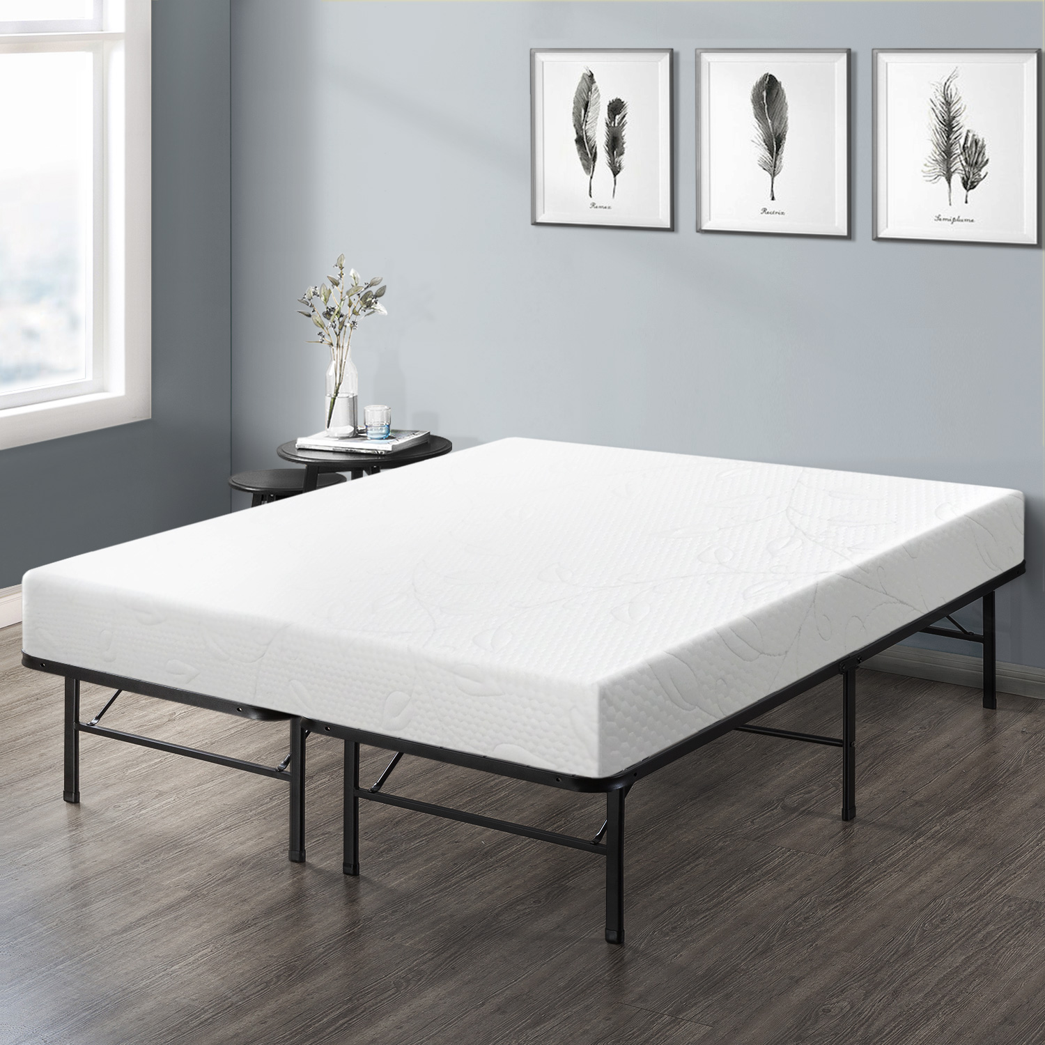 Best Price Mattress 8 Inch Air Flow Memory Foam Mattress and 14 Inch Steel Platform Bed Frame Set, Twin