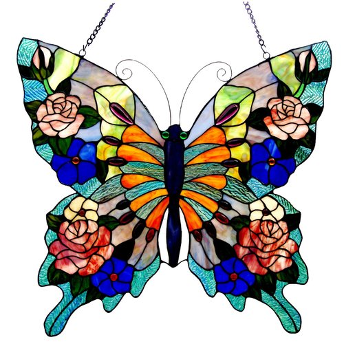 CHLOE Lighting Tiffany-glass Butterfly Window Panel 22.5x24