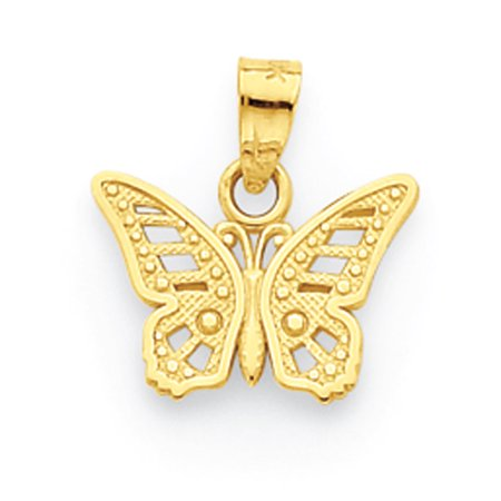 - 10K Yellow Gold Polished Butterfly Charm Pendant - 12mm