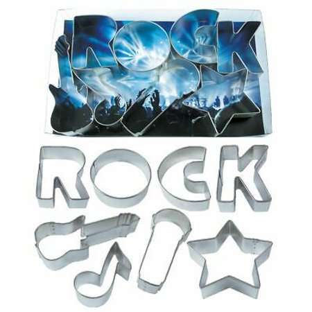 Rockstar - Microphone, Electric Guitar, Star, Music Note, Letters R, O, C, K, Cookie Cutter Set - 8 Piece - 2004 - National Cake Supply ()