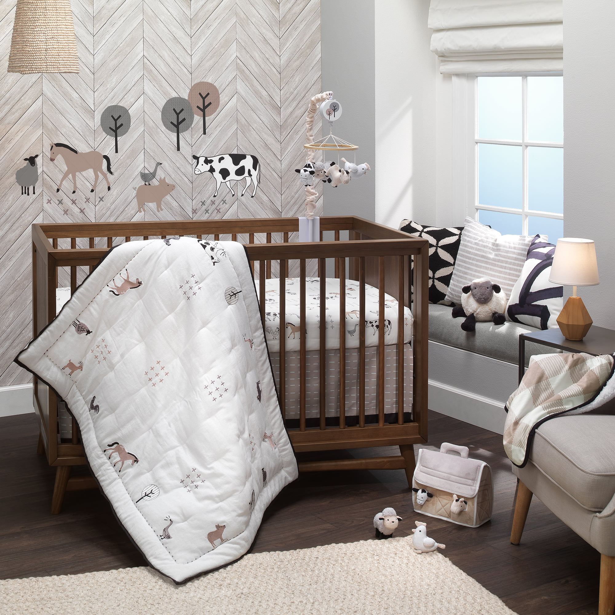 Lambs Ivy Baby Farm Animals 5 Piece Baby Crib Bedding Set White Taupe Walmart Com Walmart Com