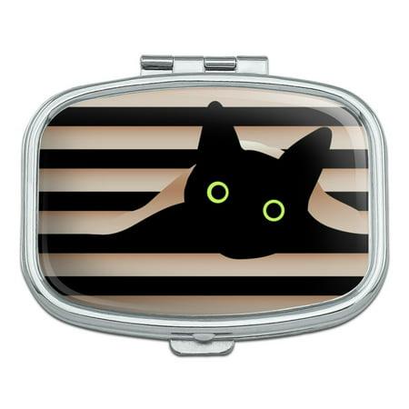 Black Cat In Window Rectangle Pill Case Trinket Gift Box ()