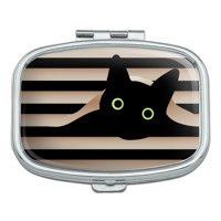 Black Cat In Window Rectangle Pill Case Trinket Gift Box
