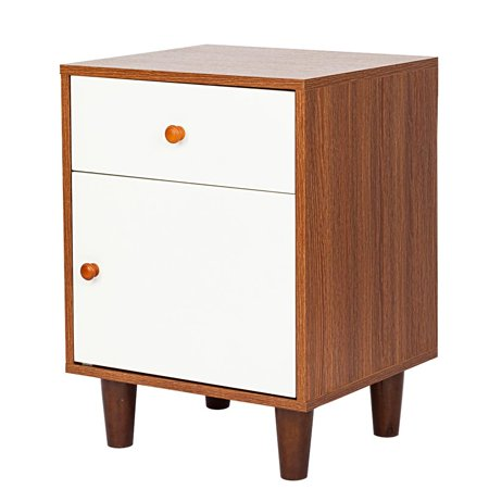 Ktaxon One Drawer One Door Bedside Cabinet Night Table Walnut Color & White ()