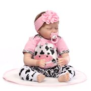 "22"" Baby Doll and Accessories, Newborn Silicone Vinyl Reborn Baby Dolls, Kid Role Play Toy Doll with Clothe, Sleeping Dolls for Girls, for Children 12 Months and Older, Birthday/Christmas Gift, W4868"