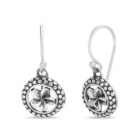 Willowbird Women's Polished Flower Design With Beaded Border Hook Earrings in Oxidized Sterling Silver ()