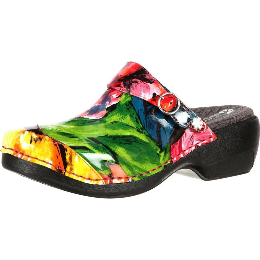 4EurSole Work Shoes Womens Patent Print Clog Tropical RKH055